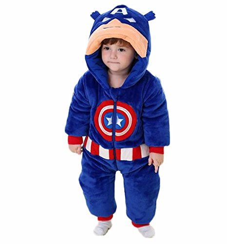 Toddler Captain America Costumes Hoodie (Aokaixin Infant Baby Toddler Hoodie Rompers Costumes Baby Suit (Height:34.5-37.4'', Captain America))