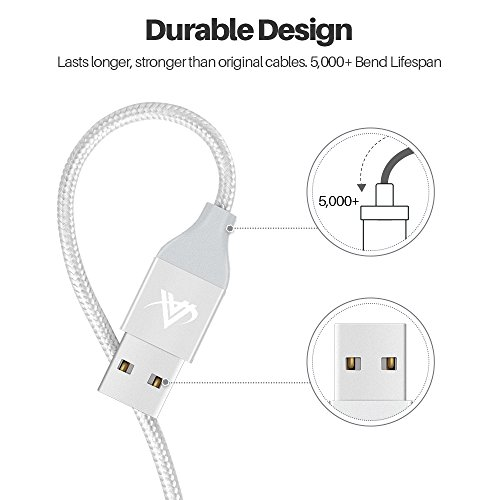 Aonlink iPhone Charger,Aonlink 3 Pack(1M 2M 3M) Lightning Charging Cable, Multi Safety Defense, Nylon Braided, Ultra Durable, for iPhone X/8/8 Plus/7/7 Plus/6/6 Plus/(Silver-, 1M2M3M)