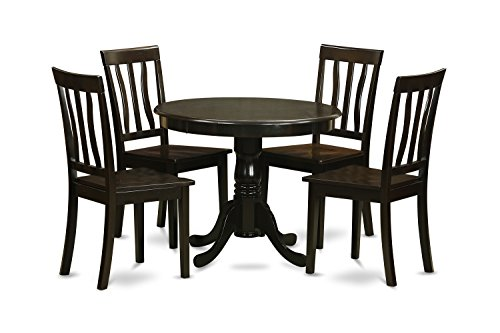 Cappuccino Finish Dining Table - East West Furniture ANTI5-CAP-W 5-Piece Kitchen Table Set, Cappuccino Finish