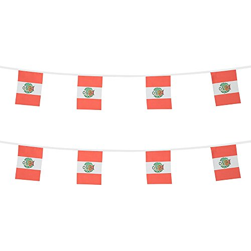 KalaBear Peru Flags,Peruvian National Country World Pennant String Flags Banners For Party Events Decorations Classroom Garden Olympics Festival Grand Opening Bar Sports Clubs