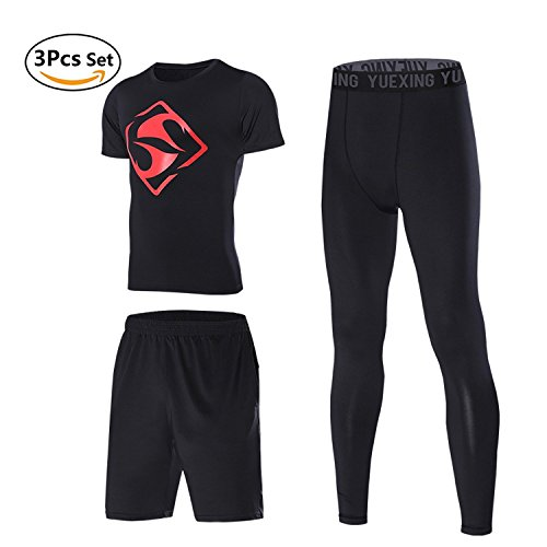 3 Pcs Men's Workout Clothes Set with Compression Pants Sweat-Wicking Shirt and Loose Fitting Shorts Black/M by YUEXING