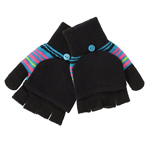 SO Striped Convertible Flip Gloves for Girls - One Size (Black/Teal) (Striped Convertible Glove)