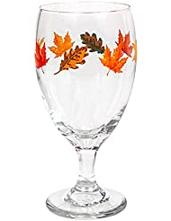 Multi Purpose 16 oz. Goblets-Glasses, Adorned with Colorful Fall Leaves, Perfect size for Water, Iced Tea, Wine, Cocktails,Seltzer and other Mixed Drinks. (4)