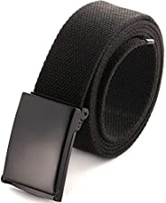 "Cut To Fit Canvas Web Belt Size Up to 52"" with Flip-Top Solid Black Military Buckle (B"