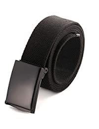 "Cut To Fit Canvas Web Belt Size Up to 52"" with Flip-Top Solid Black Military Buckle (Black)"