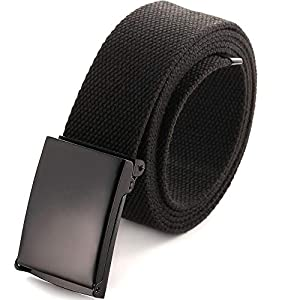Cut To Fit Canvas Web Belt Size Up to 52″ with Flip-Top Solid Black Military Buckle (16 Color and Combo Pack Options)