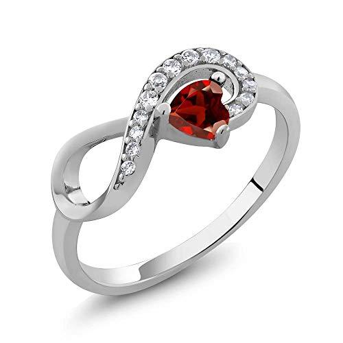 Gem Stone King 925 Sterling Silver Heart Shape Red Garnet Women's Infinity Ring (0.44 Cttw Gemstone Birthstone) (Size 6)