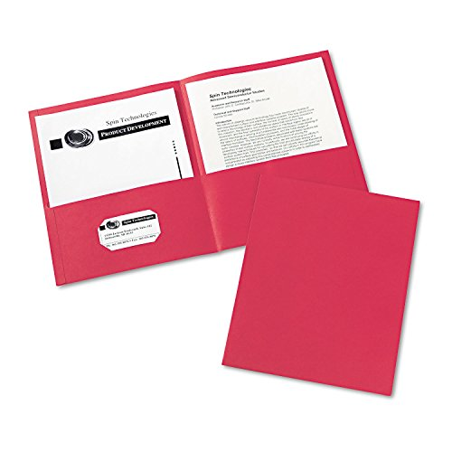 - Avery 47989 Two Pocket Folder, 8-1/2-Inch x11-Inch,20 Sht Cap, 25/BX, Red