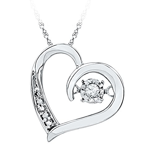 (Sonia Jewels 10k White Gold Round Diamond Heart Love Twinkle Moving Dancing Rhythm Pendant (1/20)