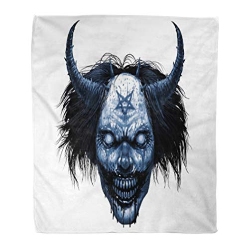 (Golee Throw Blanket Hell Evil Smiling Clown Makeup Long Hair and Satanic Pentagram 60x80 Inches Warm Fuzzy Soft Blanket for Bed)