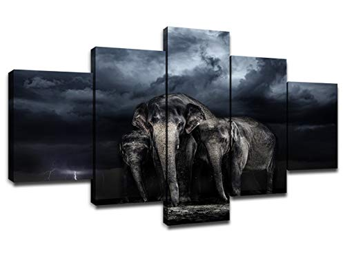 Savannah Poster Bed - Modern African Elephant Canvas Prints Wall Art Storm in The Savannah Poster with Frame Bedroom Decor Picture South Africa Wild Animal Painting Artwork Home Decoration Ready to Hang(60''Wx32''H)