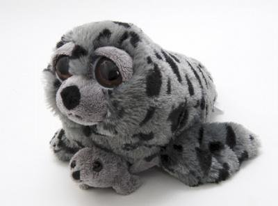 Bright Eyes Pocketz Mom and Baby Harbor Seal Plush Animals -
