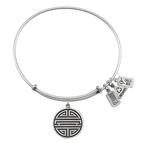 - Wind and Fire Women's Shou (Chinese Long Life Symbol) Charm Bangle Silver Plated