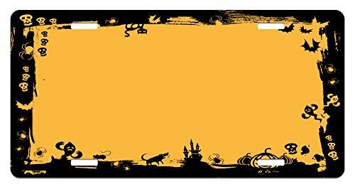 Lunarable Halloween License Plate, Black Framework Borders with Halloween Cats Bats Skulls Ghosts Spiders, High Gloss Aluminum Novelty Plate, 5.88