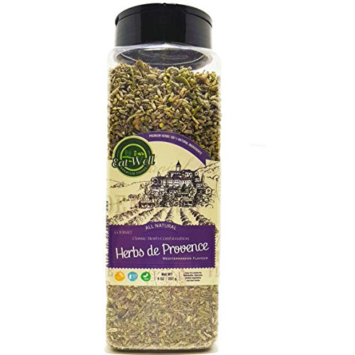 Herbs De Provence Seasoning | 9 Ounce - 255 Gr Bulk Spice Quart Jar with Shaker Top | Seasoning - Spice Blend with Lavender and Crushed Sage Leaves |100% Natural ()