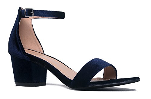 J. Adams Daisy Mid Heel Sandal Blue Velvet 5.5 B(M) US