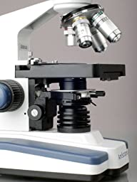 AmScope T120 Professional Siedentopf Trinocular Compound Microscope, 40X-1000X Magnification, WF10x Eyepieces, Brightfield, LED Illumination, Abbe Condenser with Iris Diaphragm, Double-Layer Mechanical Stage, 100-240VAC
