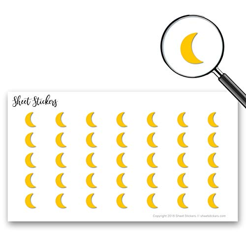 Moon Crescent, Sticker Sheet 88 Bullet Stickers for Journal Planner Scrapbooks Bujo and Crafts, Item 1321485