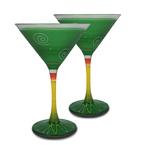 Golden Hill Studio Martini Glasses Hand Painted in the USA by American Artists-Set of 2-Frosted Curl Dot Dark Green Collection ()