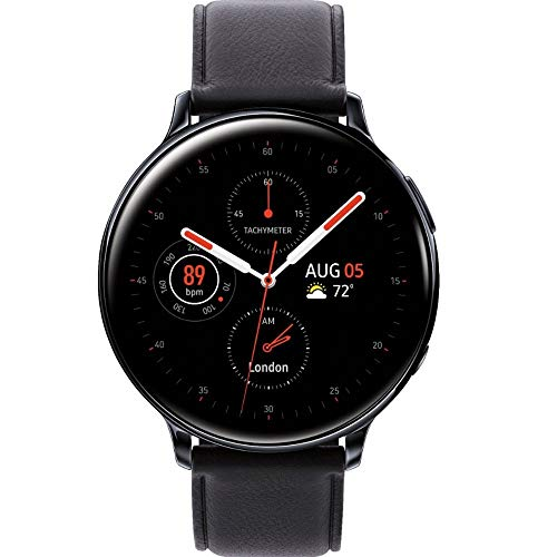 Samsung Galaxy Watch Active2 w/; auto Workout Tracking, and pace Coaching Enhanced Sleep Tracking Analysis Stainless Steel CASE and Leather Band (International Model) (Black, 44mm) No LTE