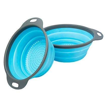 Miswaki Collapsible Colanders with Handles (2 Pc. Set) Round Kitchen Sink Strainers | Heat-Resistant Silicone | Stackable, Space-Saving Design | Pasta, Vegetables, Hot Water (Blue)