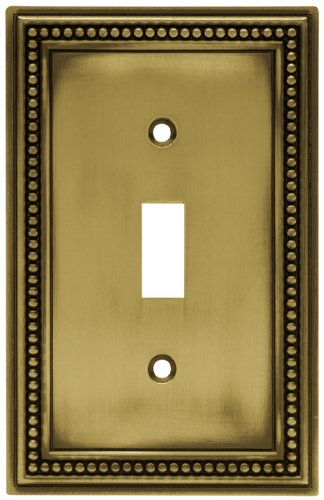 Brainerd 64401 Beaded Single Toggle Switch Wall Plate / Switch Plate / Cover, Tumbled Antique Brass
