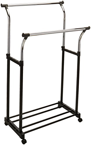 Organize It All Adjustable Double Rail Rolling Clothing and Garment Rack
