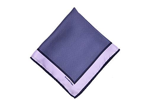 Ermenegildo Zegna Mens Navy Purple Geometric Print Silk Pocket Square~RTL$165