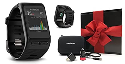 Garmin vivoactive HR (Regular) GIFT BOX Bundle | Multi-Sport GPS Touchscreen Smartwatch with Wrist-HR, PlayBetter USB Car/Wall Adapter, Protective Case | Black Gift Box