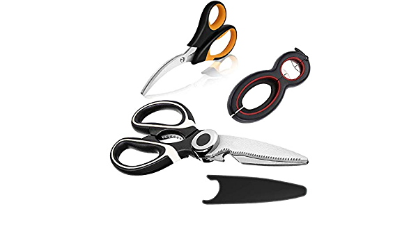 Heavy Duty Stainless Kitchen Shears & Jar Opener & 6 in 1 Multi Function Can Opener