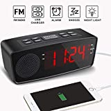 Clock Radios, Digital FM Alarm Radio Clock USB Charging Port,LED Display, Dimmer, Sleep Timer, Snooze Battery Backup Bedrooms,Tables (Red)