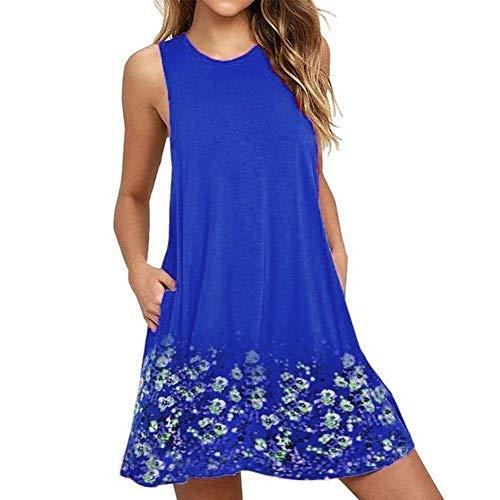 - HITRAS Dress! Fashion Womens Ladies Elegant Casual Dresses-Floral Printed Boho T-Shirt Pockets Mini Dress