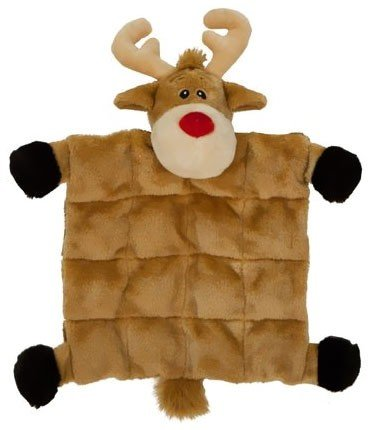 Outward Hound Kyjen Plush Puppies Square Reindeer Squeaker Mat, Large Kyjen Plush Squeak Mat