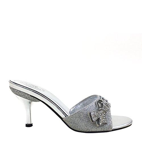 New Brieten Womens Rhinestone Bow Kitten Heel Slides Sandals 5zZGhCpQ0