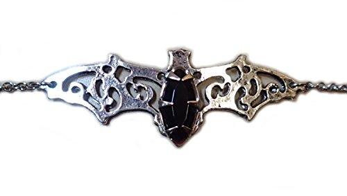 Moon Maiden Jewelry Elegant Filigree Vampire Bat Headpiece w/Jet Black Stone -