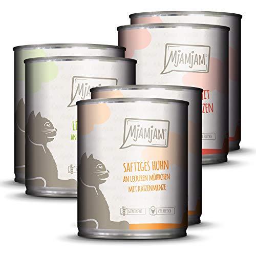 MjAMjAM – Premium Nassfutter für Katzen – Mixpaket 1 – Huhn, Rind, Herzen, 6er Pack (6 x 800g), getreidefrei mit extra…