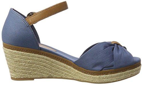 Tommy Hilfiger E1285lba 40d, Sandalias con Cuña para Mujer Azul (Jeans 013)