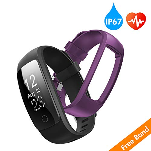 (runme Fitness Tracker with Heart Rate Monitor, Activity Tracker Smart Watch with Sleep Monitor, IP67 Water Resistant Walking Pedometer with Call/SMS Remind for iOS/Android (Black+Purple))