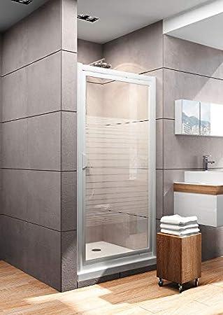 Puerta de ducha giratoria en nicho, mampara de ducha con cristal transparente con marco serigrafiado, perfil blanco, 90 x 180 cm: Amazon.es: Bricolaje y ...