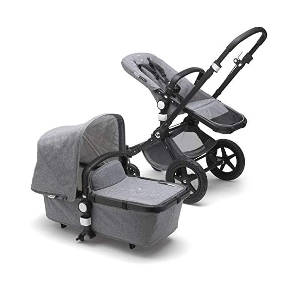 Bugaboo Cameleon3 Plus Classic Complete Stroller, Black/Grey Melange – Versatile, Foldable Mid-Size Stroller with…