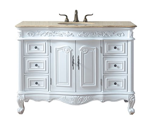 Stufurhome GM-3323W-48-TR 48 Inches White Saturn Single Sink Vanity with Travertine Marble Top