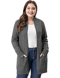 Agnes Orinda Women's Plus Size Open Front Sweater Cardigan