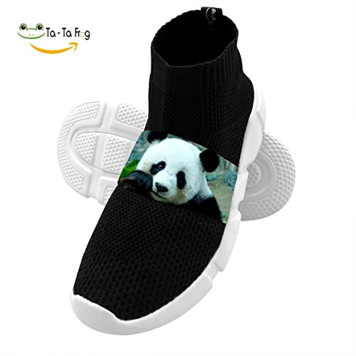 OmyHD Cute Panda Bamboo Kids Lightweight High Heel Shoes Mesh Outdoor Sports Sneakers