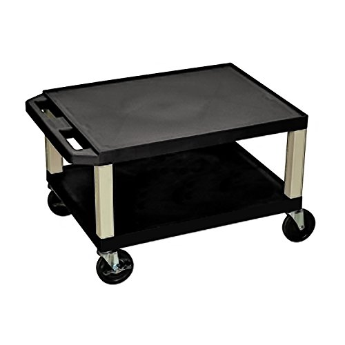 Offex Rolling 16-Inch Tuffy AV Cart 2 Storage Shelf with Putty Legs, Electric, 4-Inch Heavy Duty Casters - Black (OF-WT16E) by Offex