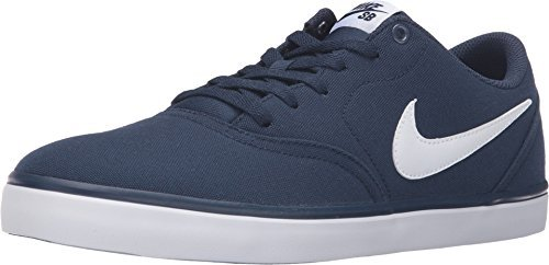New Nike Men's SB Check Solar Canvas Sneaker Midnight Navy/White 7