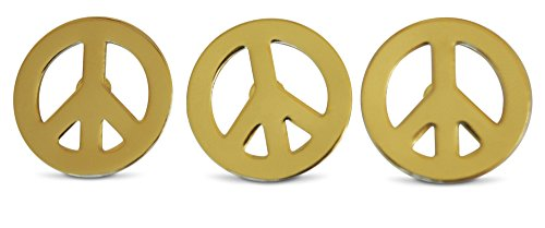 3-Piece Gold-Tone Peace Sign Lapel or Hat Pin & Tie Tack Set with Clutch Back by Novel - Flag Buttons Peace Sign