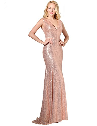 Belle House Women's Rose Gold Sequins Prom Dresses Long 2018 V Neck Sexy Evening Ball Gowns Mermaid Bridesmaid Dresses