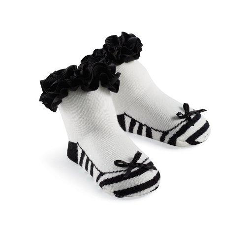 Mud Pie Princess Natalie Zebra Sock, Black/White, 0-12 Months