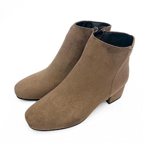 Malloom® Frauen Mid Heel Knöchel Zipper Plateauschuhe Slope Martin Stiefel Britisch Dick mit Den Runden Stiefeln und Den Nackten Stiefeln Khaki