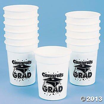 "White ""Congrats Grad"" Plastic Cups/One Dozen/GRADUATION Party Supplies/Graduation Table Ware"
